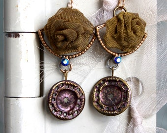 Antique button earrings, vintage jewelry victorian picture metal buttons recycled repurposed up cycled