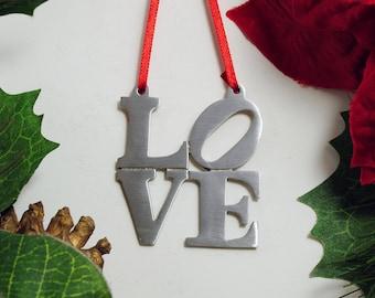 LOVE Fine Pewter Christmas Ornament Love Park Philadelphia