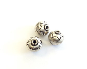 3PCS Round decorative sterling silver spacer beads
