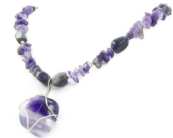 SALE Vibrant Purple Chevron Amethyst Wire Wrapped Pendant Necklace