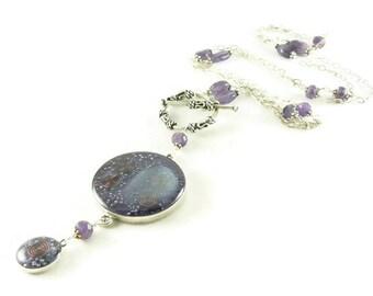Orgone Energy Necklace - Nia Necklace - Celebrity Jewelry - Custom Necklace - Amethyst Gemstone - Sterling Silver - Long Necklace - BOHO