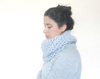 Chunky Cowl, Infinity Scarf, Cowl Snood Scarf in Powder Blue handmade in a Wool blend - READY TO SHIP