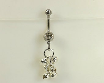 Dangle Belly Ring navel ring with bells (6mm) belly button jewelry body jewelry curved barbell navel ring