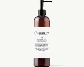 Rose Luxury Body Wash, Natural, Organic, Vegan Shower Gel with Pure Essential Oils