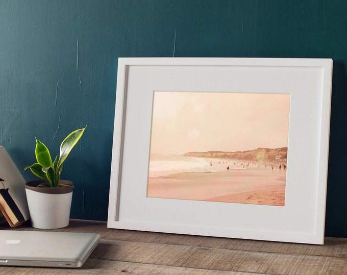 Pink Coastal Landscape, Pacific Ocean at Crystal Cove, Coastal Decor, Beach House Decor, Nautical Decor,  8x10 11x14 16x20