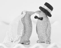 Wedding Cake Topper Custom Kissing Bride & Groom Glitter Penguins Personalized with Handmade Bow Tie Top Hat and Veil in your Wedding Colors