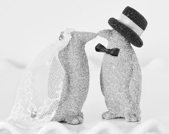 Penguin Wedding Cake Topper Custom Glitter Kissing Bride & Groom Personalized with Handmade Bow Tie Top Hat and Veil in your Wedding Colors