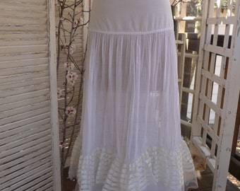 SALE Long White Crinoline Slip  by Hoops My Dear Vintage Long Slip Petticoat Vintage Lingerie