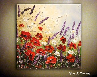 Wildflower Painting.ORIGINAL Abstract Art Painting.Palette Knife.Impasto.Modern Wildflower Painting.Home Decor,Ready to Ship  by Nata S.