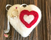 Engagement Ring Pillow Wedding Proposal Ring Heart Needle Felted White Engagement Wedding Bands Pillow