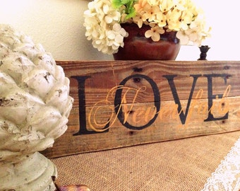 Rustic Love Never Fails Pallet Sign Black/Gold Love Wedding Scripture Desk Reclaimed Wood Sign Wall Hanging