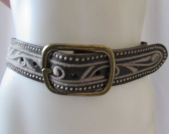 vintage Ralph Lauren Leather Belt Boho Retro Unisex wide Brass buckle
