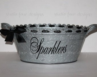 Sparklers Holder - Personalized Scalloped Oval Metal Tub/Ice Bucket - Party Beverage Tub - Galvanized Bucket -  Assorted Colors Available