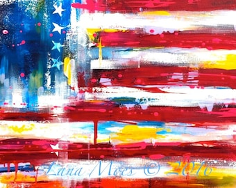 American Flag Print on Canvas from Original Acrylic Painting - Canvas Print Ready to Ship in Roll - Shipped Worldwide - Wall Art
