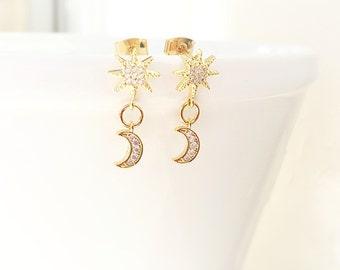 Moon and Star Earrings - Gold Stud Earrings - Star Jewelry - Moon Jewelry - Cubic Zirconia - Small Earrings