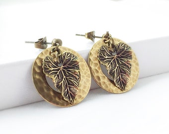 SALE - Autumn Leaf Earrings - Gold Leaf Jewelry -  Gold Hoop Earrings - Brass Drop Earrings - Stud Earrings