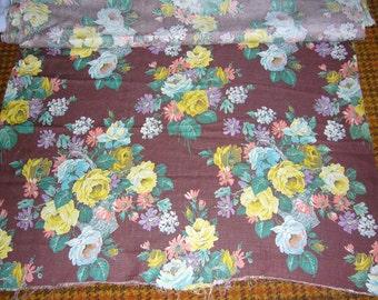Vintage Linen Floral Fabric 9 1/2 yards
