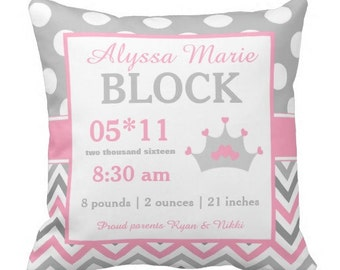 Princess Pink Birth Announcement Pillow Cover and Insert