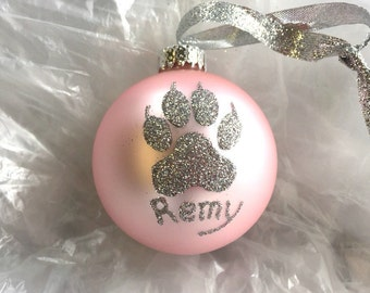 Cat Print Glitter Christmas Ornament - Personalized Pet Cat Glass Ball