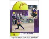 SOFTBALL MM9 - 8x10 Memory Mate Sports Photo Template - Digital File
