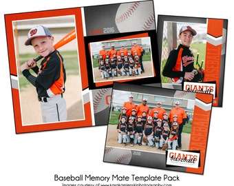 BASEBALL PACK G - Memory Mate Sports Photo Templates - Digital Files Only