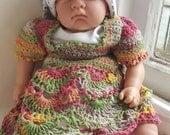 Handmade crochet baby dress,  0-3 months 14 inch chest , newborn,  preemie