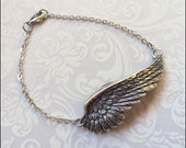 Angel Wing Bracelet, Silver Wing Jewelry, Silver Feather Bracelet, Christian Jewelry, Faith, In Memory Of, PERFECT GIFT for Her, Gorgeous