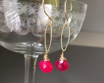 Pink chalcedony drop earrings