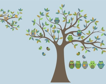 nursery tree decal - Owl tree - Vinyl wall decal - Wall decals - Owls and birds 5 Free owls