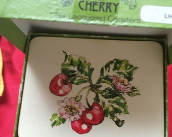 Six Lacquered Coasters -Cherry