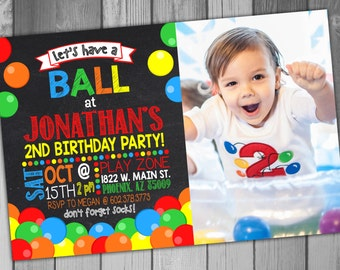 Ball Pit Birthday Party Kids Birthday Party Invitation Have a Ball Printable Birthday Girl Birthday Boy Birthday Chalkboard Birthday