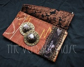 Assuit Zil Bag- Copper and Brown Ikat Silk and Black Assiut Finger Cymbals Pouch