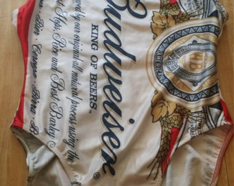 Budweiser Beer Vintage Beach One Piece Swimsuit Size LRG