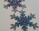 """Bejeweled Snowflakes ~ 4 Triple Glittered Snowflakes: Silver-Light Blue-Light Purple with Crystal Accent, 3"""", Frozen Party, Wedding Decor"""