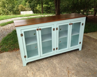 Painted Media Console, Something Blue Aged TV Stand, Painted Media Center