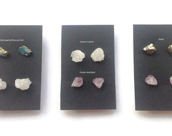 RAW GEMSTONE STUD,Pyrite, Purple Amethyst, Quartz, Peacock Ore, Chalcopyrite, Natural Stone