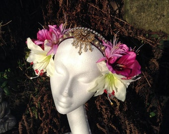 Spring Diva Big Flower Headdress - Tribal Fusion Bellydance ATS Boho Gypsy Wedding Burning Man