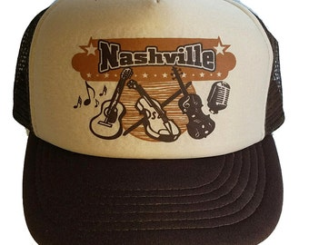 Nashville Tennessee Country Music  Snapback Mesh Trucker Hat Cap Brown