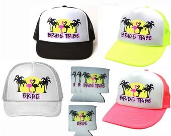 Single Set Bride Tribe Flamingo  Snapback Mesh Trucker Hat Cap & Matching Can Cover Team Bride Bachelorette