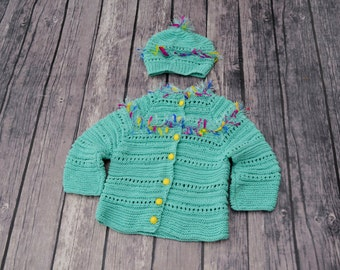 Hand Knit Baby Girl Sweater, mint green Cardigan, Toddler cardigan, Baby shower Gift, Sweater hat Set, toddler clothes, organic cotton,