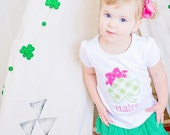 Monogrammed Shamrock with bow Shirt or Bodysuit for St. Patrick's Day. Green gingham Clover with name appliqued shirt. Pink and Green girl.