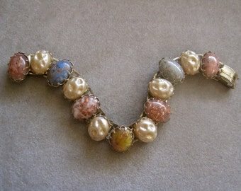 """50s Bracelet Confetti Stones Baroque Pearls Glitter Pastels 7"""" Long Links Smaller Size Goldstone Blue Pink BEAUTIFUL RETRO Collectible"""