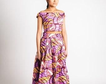 African Print Maxi Skirt Lilac Pink Orange