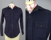 1950s Wool Flannel Brent Navy Blue Button Up Shirt
