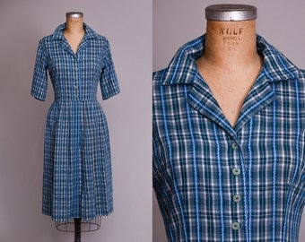 1950s Plaid Picnic Day Dress Button Down Blue and Green Plaid Handmade House Dress