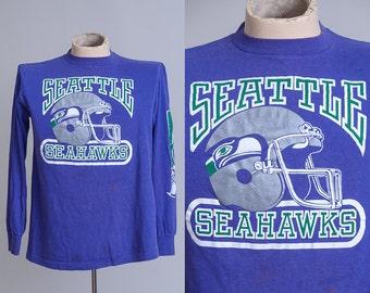 90s Seahawks Blue Cotton Long Sleeve NFL Seattle 12th Man Cotton Jersey T Shirt