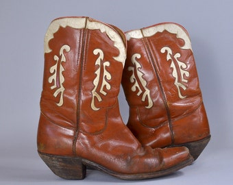 1940s Western Cutout Boots Brown Leather / White Inlay Pee Wee Cowboy Boots size 10