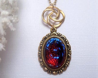 Dragons Breath Opal Necklace Gold Swirl - Custom Chain Length - Christmas Gift