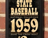 Oklahoma State Cowboys Baseball - OSU Classic Vintage Style Broadside Plaque Sign - Officially Licensed Product - OKSU8