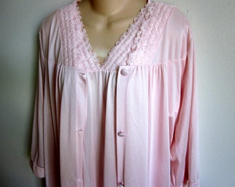 Vintage nylon nightgown robe set pink free bust plus size lingerie XL